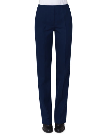 Akris punto Merit Straight-Leg Wool Pants, Navy