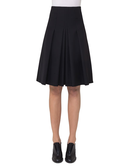 High-Waist Pleated A-Line Skirt, Black