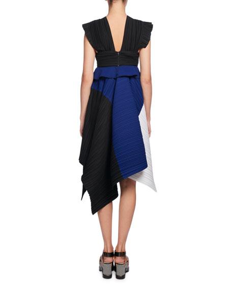 Plissé Colorblock A-Line Dress, Multi