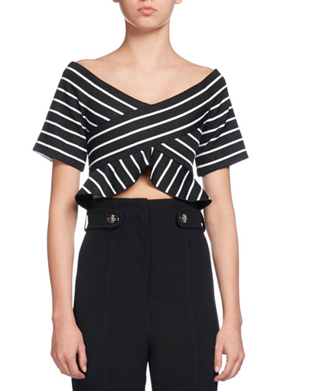 Proenza Schouler Striped Off-the-Shoulder Cropped Blouse, Multi