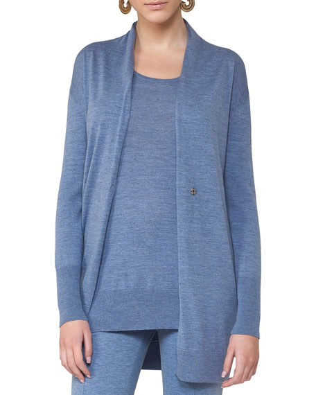 Akris punto Long Wool Melange V-Neck Cardigan, Light