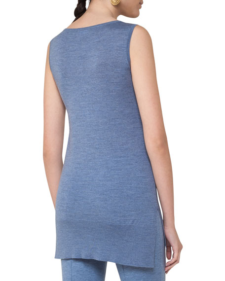 Wool Melange Shell Tunic, Light Blue