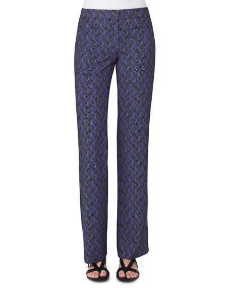 Akris punto Marla Abstract-Print Pants, Blue Pattern