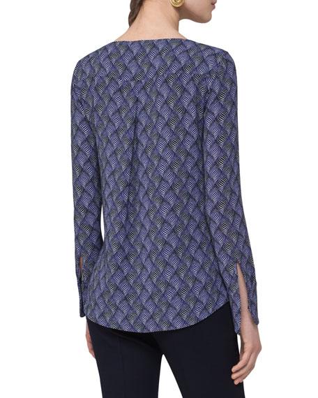 Alice Geometric-Print Top, Blue Pattern