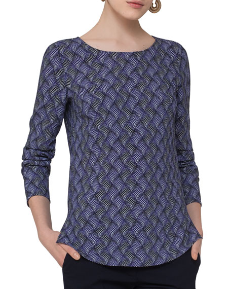 Alice Geometric-Print Top, Blue Pattern