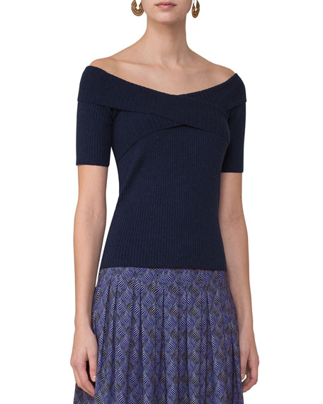 Akris punto Off-the-Shoulder Ribbed Knit Top, Navy and