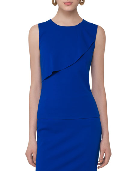 Sleeveless Asymmetric-Ruffle Top, Cobalt