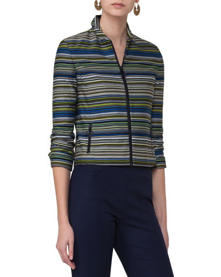 Akris punto Paracas-Print Cropped Jacket, Multi and Matching