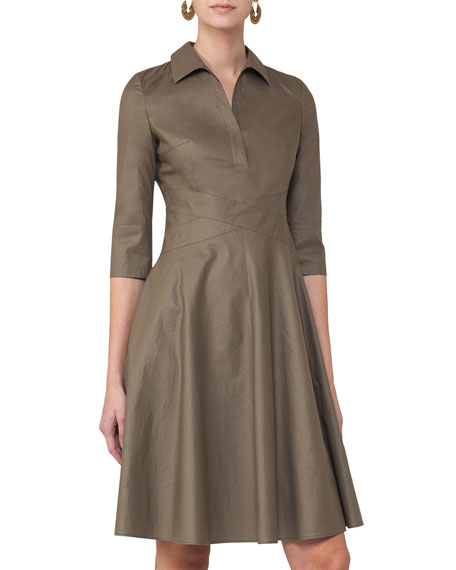 Akris punto 3/4-Sleeve Crossover-Waist Shirtdress, Taupe