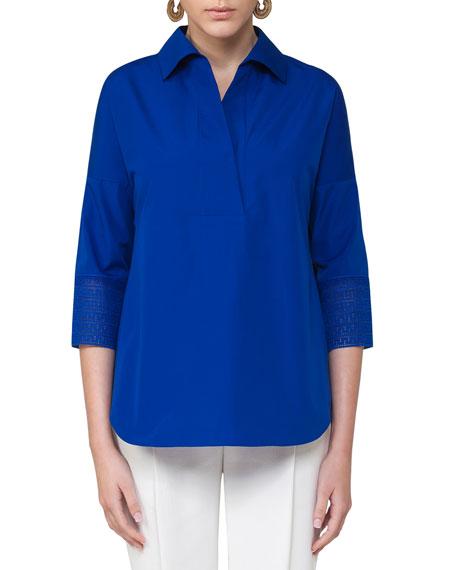 3/4-Sleeve Kimono Blouse, Blue
