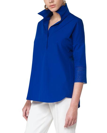 Akris punto 3/4-Sleeve Kimono Blouse, Blue