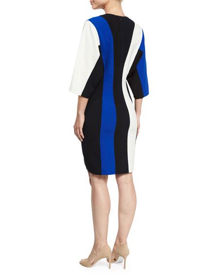 Batwing-Sleeve Colorblock V-Neck Dress, Blue/Multi
