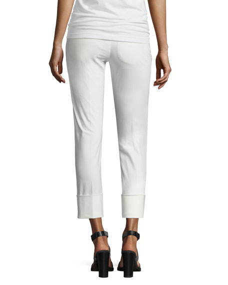 Cropped Twill Straight-Leg Pants