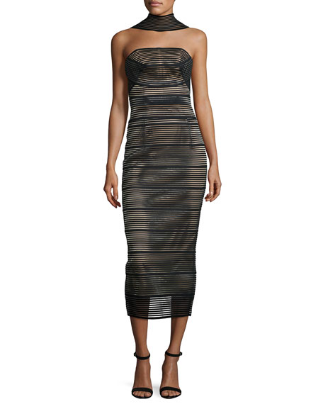 Stretch-Bandage Midi Dress, Black