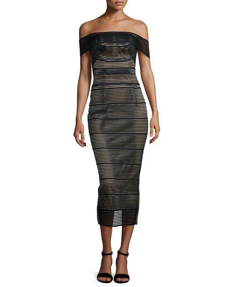 Rachel Gilbert Stretch-Bandage Midi Dress, Black