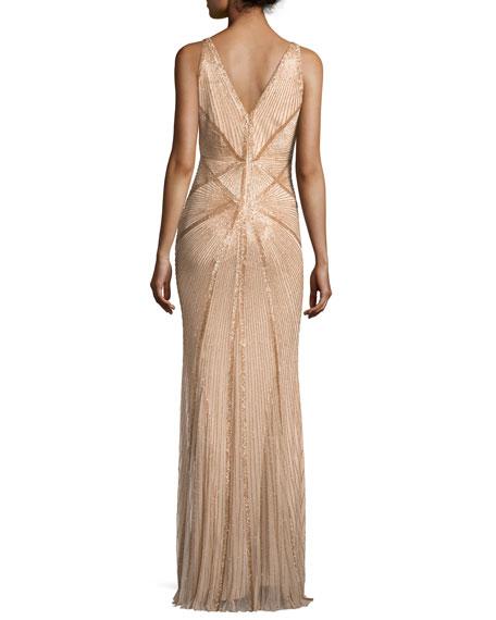 Sleeveless Beaded V-Neck Gown, Gold