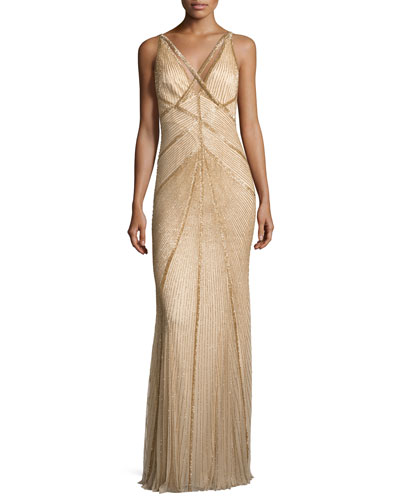 Sleeveless Beaded V-Neck Gown, Gold