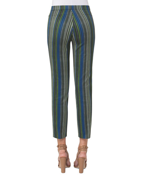 Franca Paracas-Print High-Waist Cropped Pants, Multi