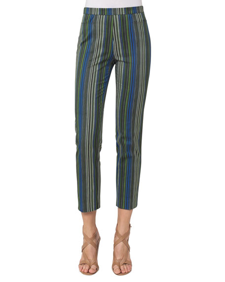 Akris punto Franca Paracas-Print High-Waist Cropped Pants, Multi