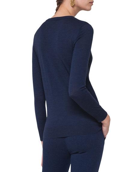 Long-Sleeve Split-Neck Sweater, Navy