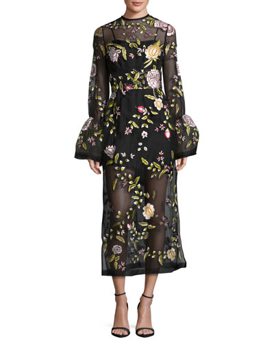 Finley Embroidered Flared-Cuff Tea-Length Gown, Black