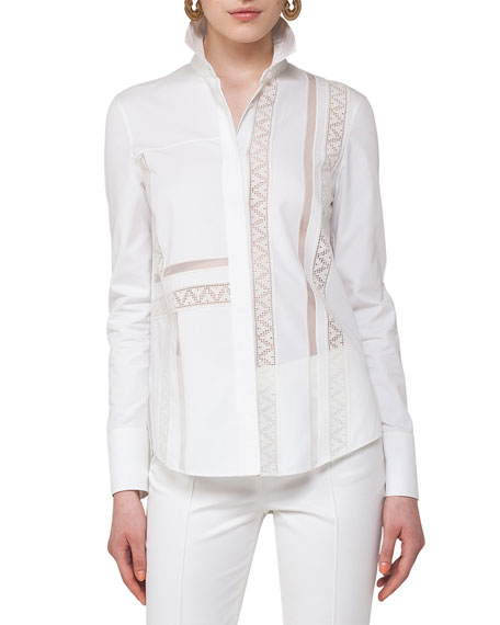 Geometric Lace-Trim Blouse, Beige