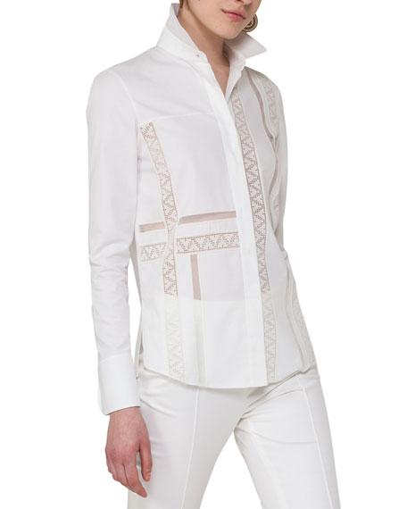 Akris punto Geometric Lace-Trim Blouse, Beige