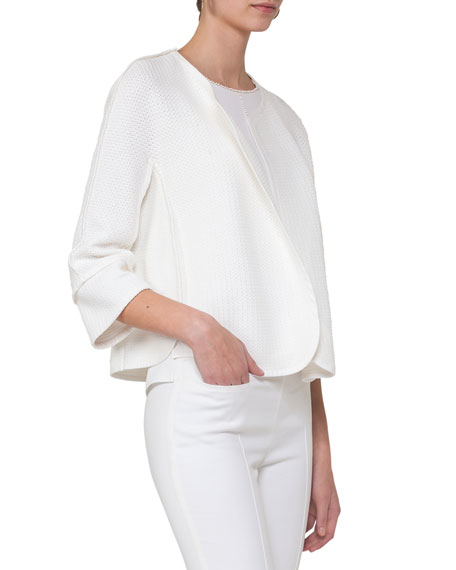 Akris punto Lace-Trim Shell Top, Cream/Beige and Matching