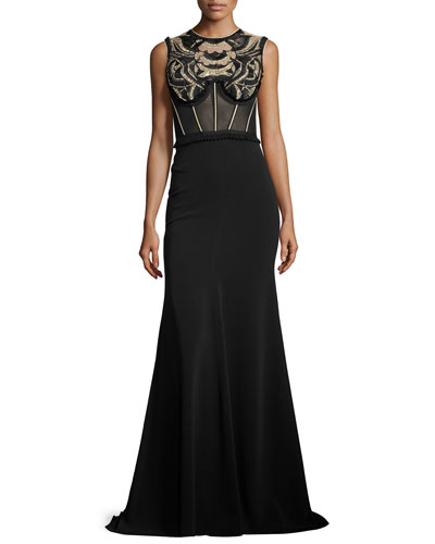 Embroidered Sleeveless Corset Gown, Black
