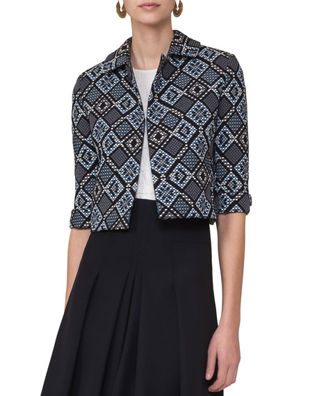 Akris punto Jacquard 3/4-Sleeve Cropped Jacket, Blue Multi