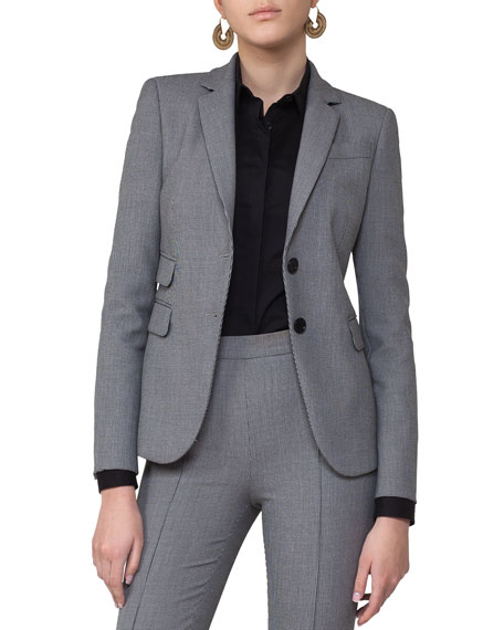 Mini-Houndstooth Two-Button Blazer, Gray