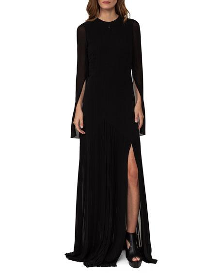 Long-Sleeve Georgette Plissé Gown, Black