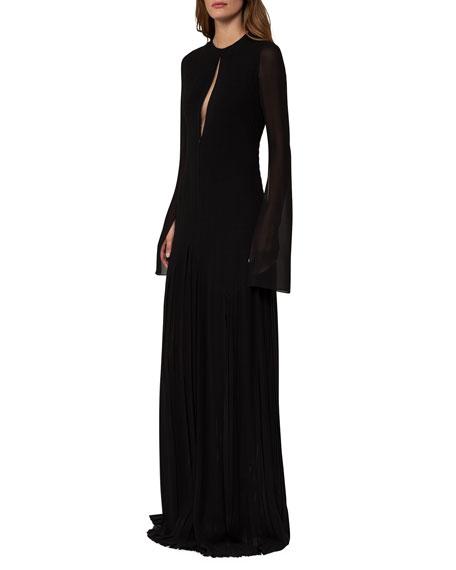 Akris Long-Sleeve Georgette Plissé Gown, Black