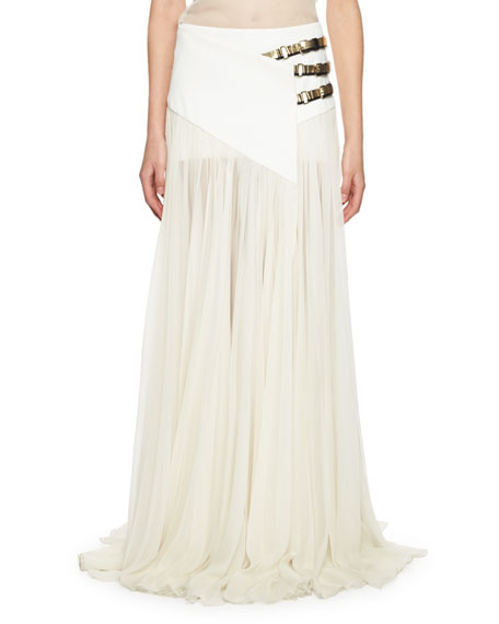 Triple-Buckle Long Wrap Skirt, Ivory