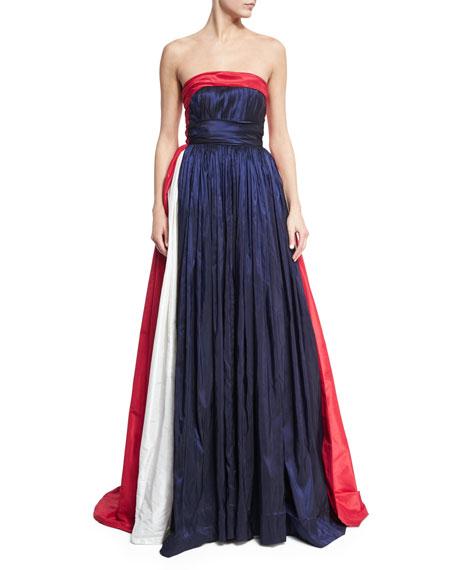 Strapless Tricolor Taffeta Ball Gown, Blue/Multi