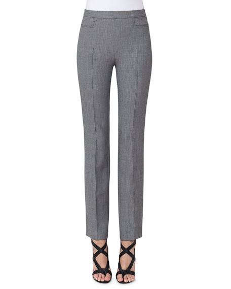 Akris punto Francoise Mini-Houndstooth Straight-Leg Pants, Gray