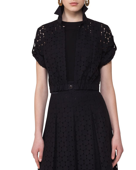 Akris punto Punto Lace Bolero Jacket, Black