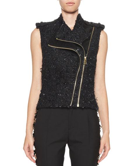 Lanvin Metallic Tweed & Vinyl Biker Vest, Black
