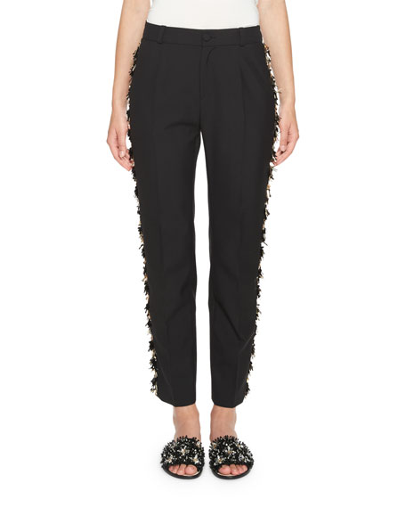 Lanvin Slim Ankle Pants with Metallic Fringe Trim,
