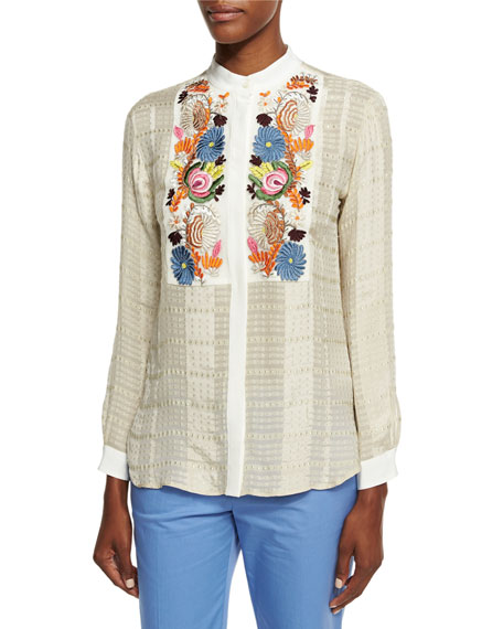 Etro Floral-Embroidered Check Blouse, Ivory