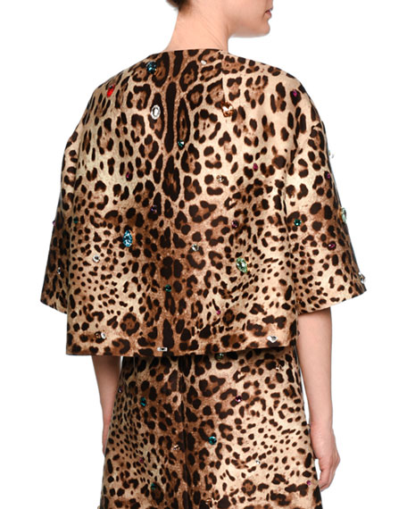 Jewel-Embellished Leopard-Print Jacket
