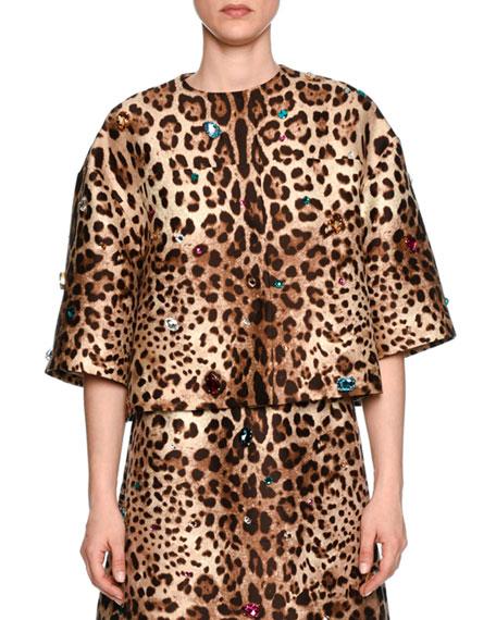 Jewel-Embellished Leopard-Print Jacket