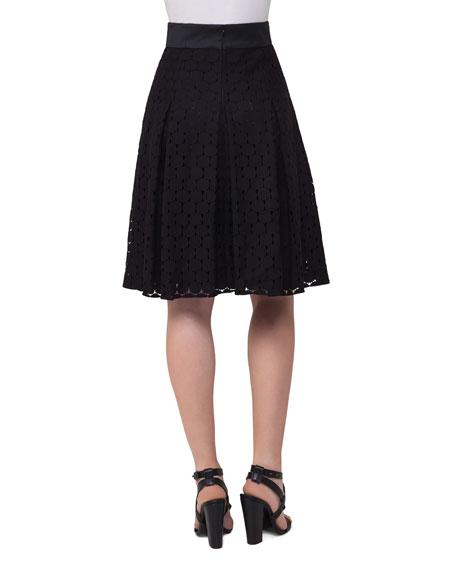 Punto-Lace High-Waist Pleated Skirt, Black