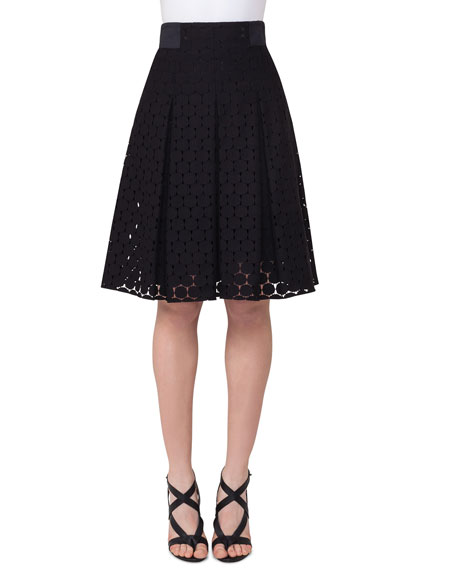 Punto-Lace High-Waist Pleated Skirt, Black