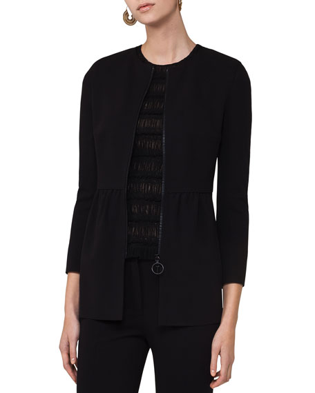 Akris punto Zip-Front Long Peplum Jacket, Black