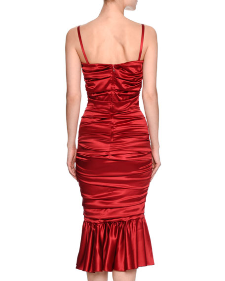 Ruched Satin Cocktail Dress, Red