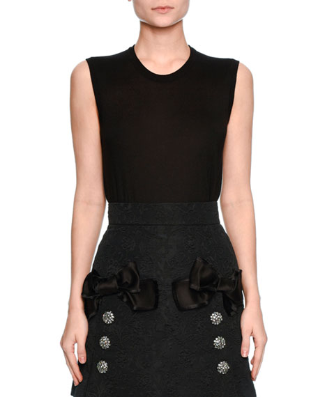 Sleeveless Cashmere/Silk Shell, Black