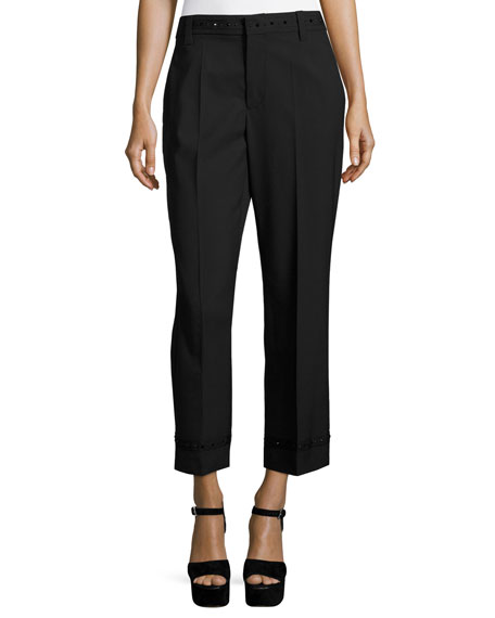 Studded Straight-Leg Trousers, Black