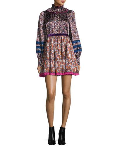 Paisley-Print Silk Babydoll Dress, Olive