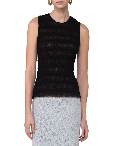 Akris punto Ruched Sleeveless Top, Black